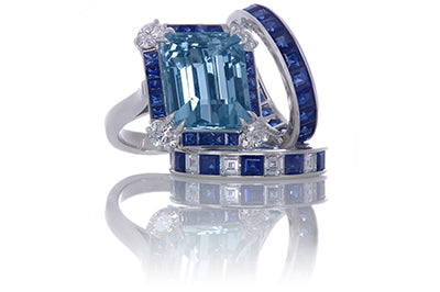 Art Deco Inspired Aquamarine, Sapphire and Diamond Ring with Matching Bands