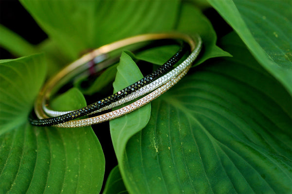 Black and White Diamond Bangle Bracelets
