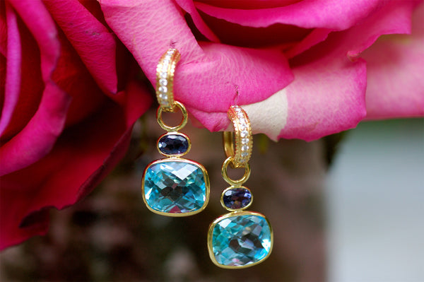 Blue Topaz and Iolite Charm Earrings