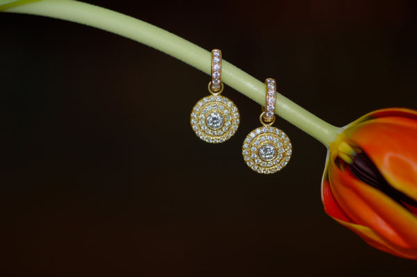 Diamond Disc Charm Earrings