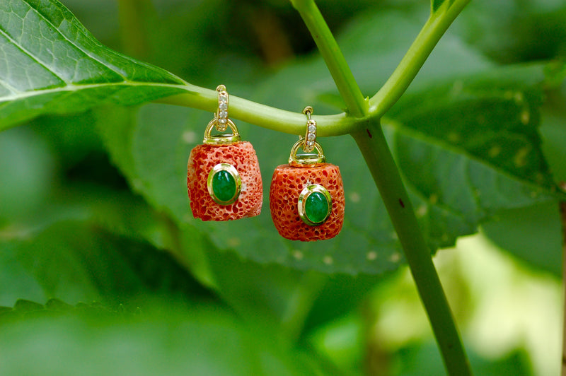 Sponge Coral and Emerald Charm Earrings