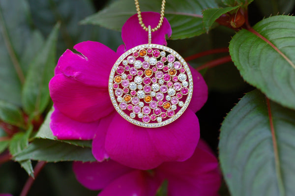 Pink and Orange Galaxy Diamond Necklace