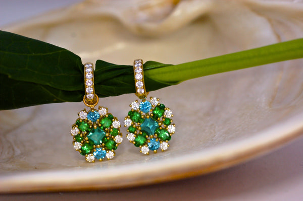 Diamond Zircon and Tsavorite Charm Earrings