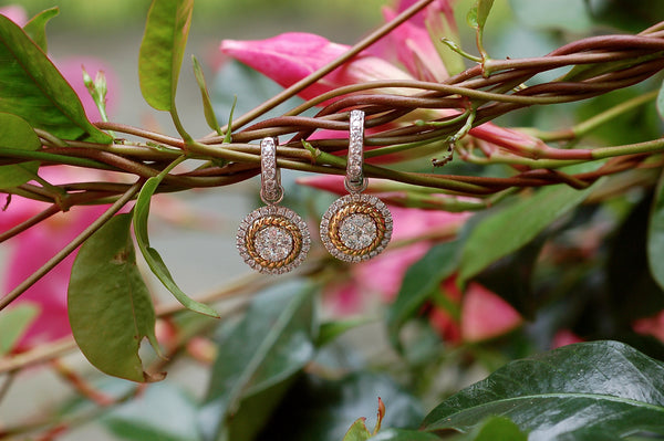 Classic Cable and Diamond Charm Earrings