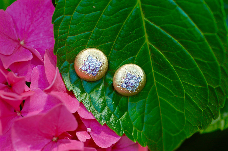 Classic Satin Button Diamond Earrings