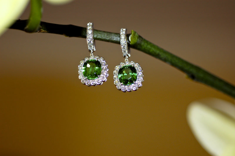 Tsavorite Garnet and Diamond Charm Earrings