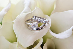 Diamond Solitaire Ring in Platinum with His and Her Bands