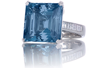 Emerald Cut Aquamarine Bezel Set Princess Cut Shank Cocktail Ring