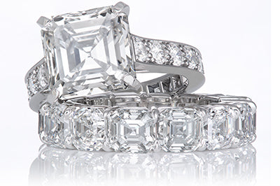 Emerald Cut Solitaire with Diamond Shank and Matching Asscher Cut Band