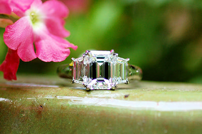 Emerald Cut and Trapezoid Engagement Ring