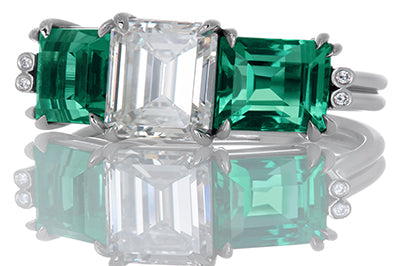 Emerald Cut with Perfectly Matched Emerald Side Stones Engagement Ring