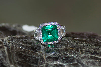 Emerald and Diamond Trapezoid Engagement Ring w/Halo Style