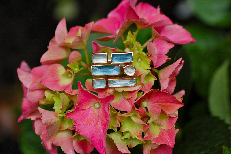 Geometric Aqua and Topaz Ring