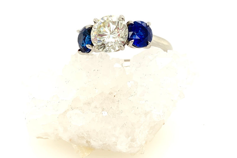 Three Stone Diamond and Sapphire Ring