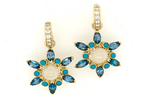 Zircon Flower Charm Earrings