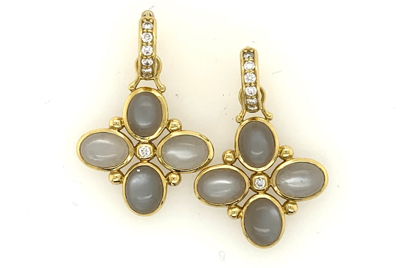 Grey Moonstone Charm Earrings
