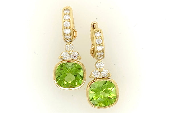Peridot and Diamond Charm Earrings
