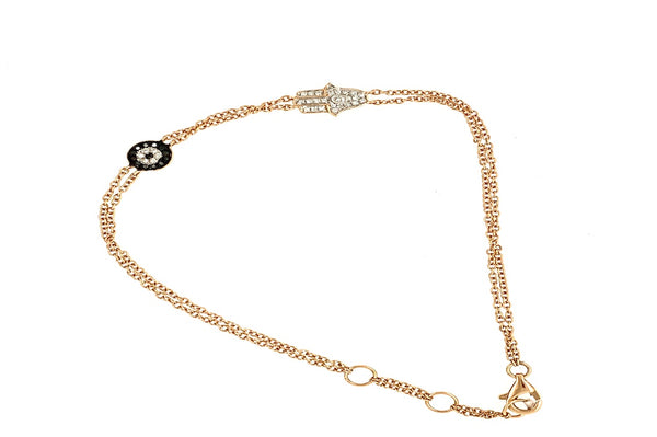 Hamsa and Black Diamond Evil Eye Bracelet