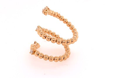 Spiral Gold and Diamond Bead Ring