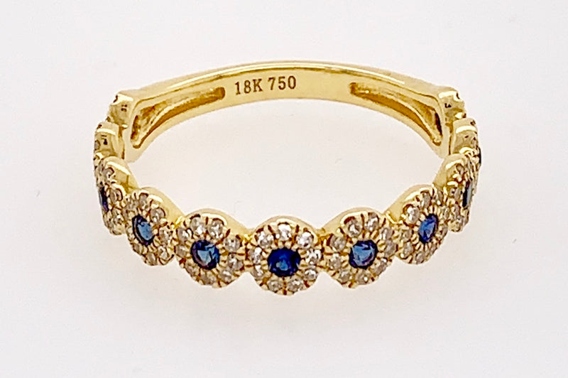 Blue Sapphire and Diamond Bands