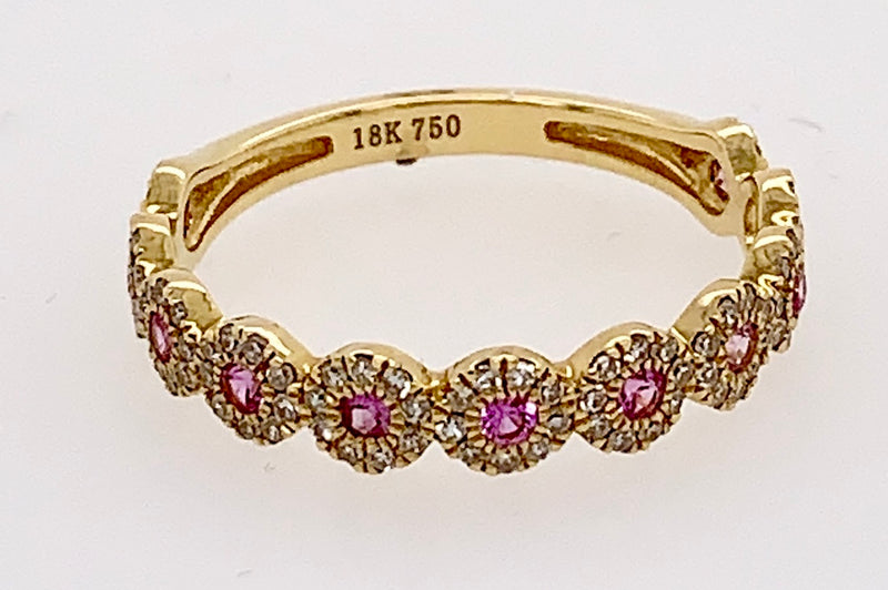 Pink Sapphire and Diamond Bands