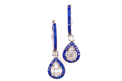 Sapphire and Diamond Teardrop Earrings