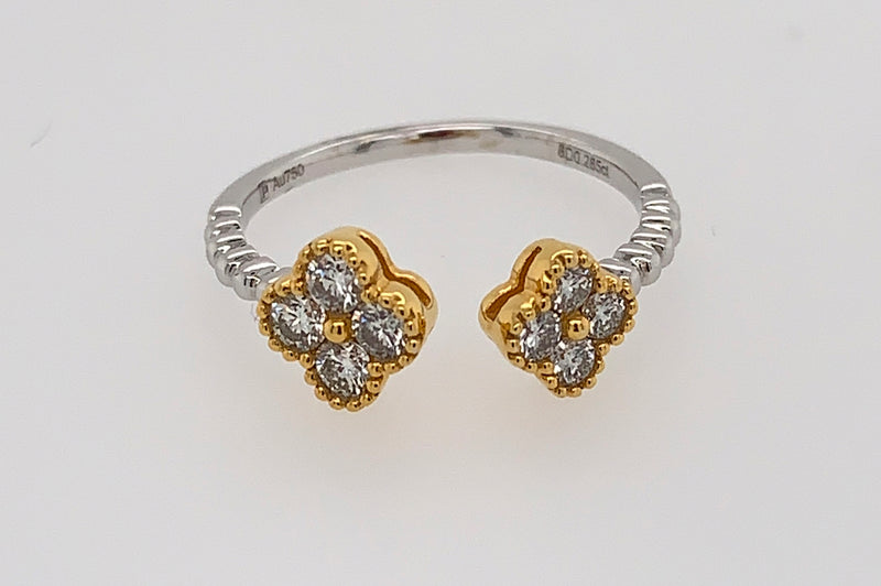 Double Clover Diamond Ring