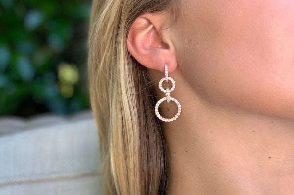 Triple loop Diamond Earrings in Yellow Gold