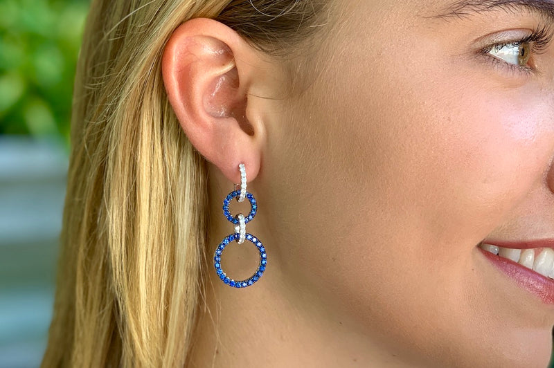 Triple loop Diamond and Sapphire Earrings