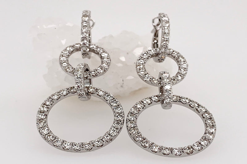 Triple Loop Diamond Earrings in White Gold