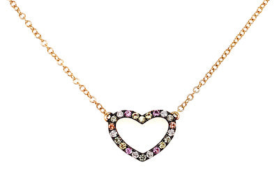 Multicolor Sapphire Open Heart Necklace