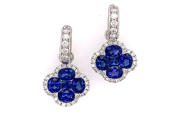 Blue Sapphire and Diamond Clover Charms