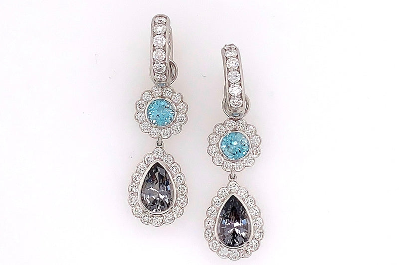 Blue Zircon and Grey Spinel Charms