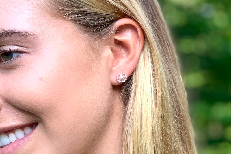 Diamond and White Sapphire Studs
