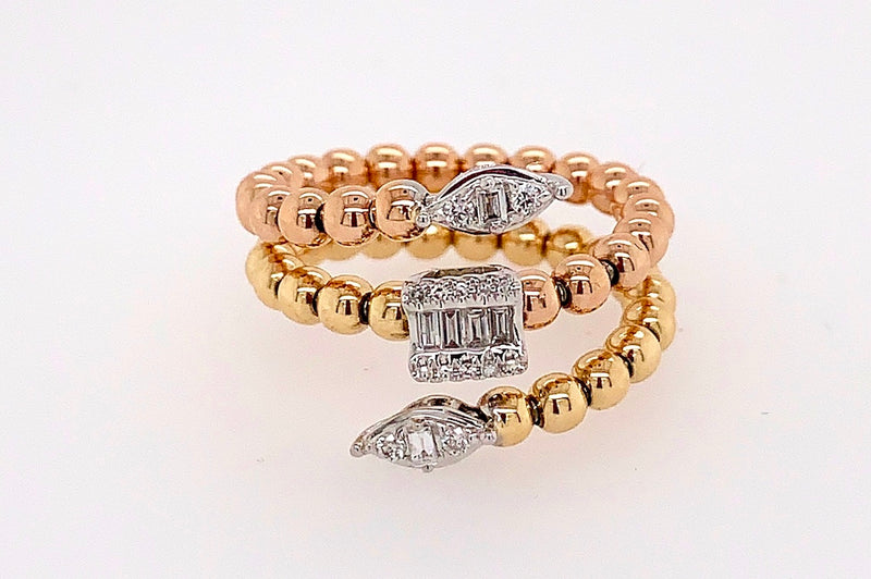 Diamond and Gold Bead Wrap Ring