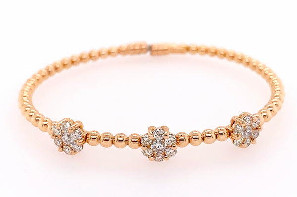 Diamond Cluster Gold Bead Bracelet