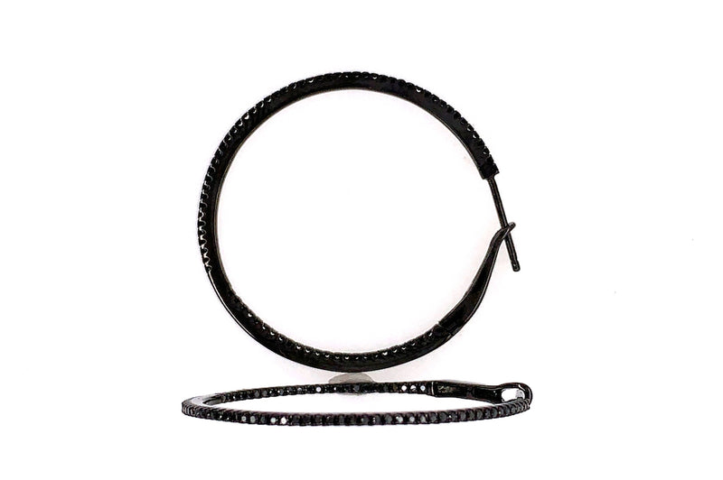 Black Micro Diamond Hoops