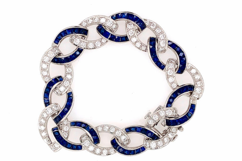 Art Deco Diamond and Sapphire Link Bracelet