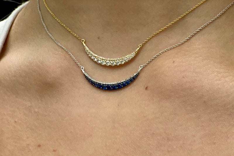 Diamond Crescent Necklace in Blue Gold