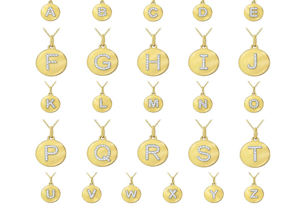Uppercase Initial Large Disc Necklace
