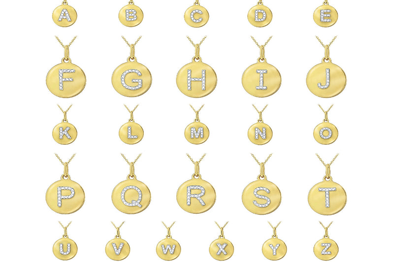 Uppercase Initial Mini Disc Necklace