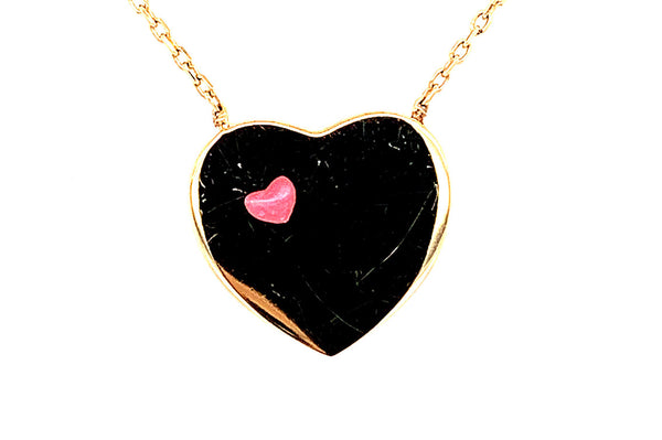 Gold and Enamel Heart Necklace