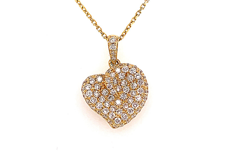 Small Graceful Pave Diamond Heart Necklace