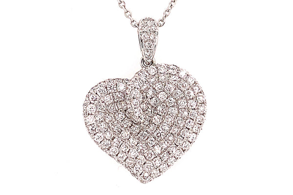 Large Graceful Pave Diamond Heart Necklace