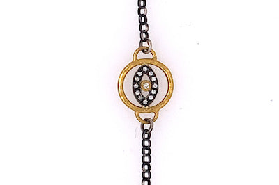 Gold and Diamond Evil Eye Bracelet