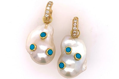 Pearl and Turquoise Charm Earrings