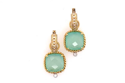 Mini Green Chalcedony Twist Edge Charms