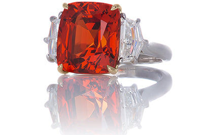 Mandarin Garnet and Pentagon Diamond Cocktail Ring