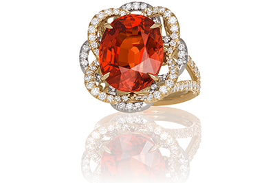 Mandarin Garnet with Diamond Flower Halo Ring