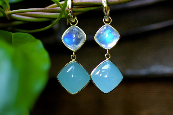 Moonstone and Chalcedony Drop Earrings